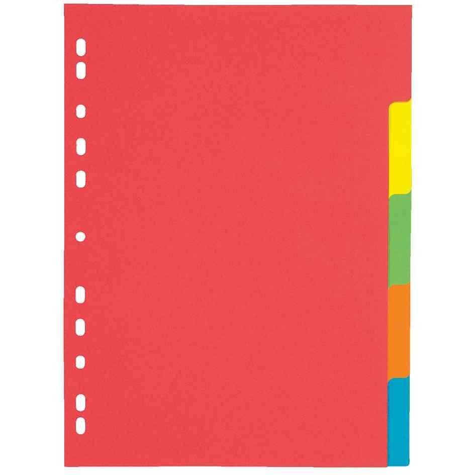 Intercalaire carton, A4, 5 touches, 5 couleurs