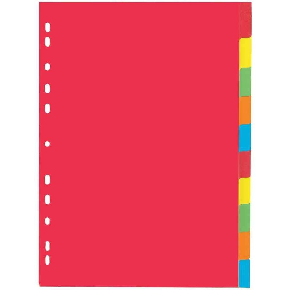 Intercalaire Carton 225g A4 10 onglets 5 couleurs