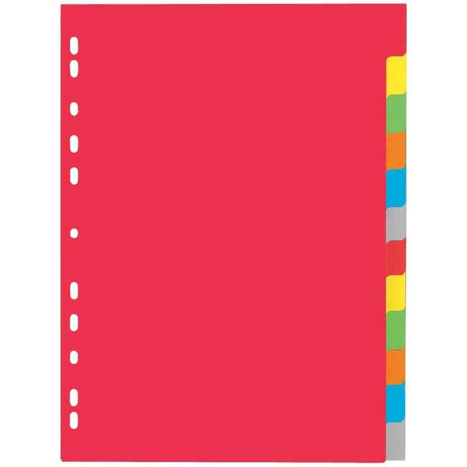 Intercalaire carton, A4, 12 touches, 6 couleurs