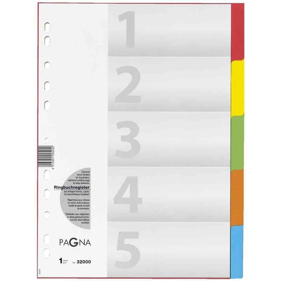 carton-registre, format A4, 5 pièces, 5 couleurs