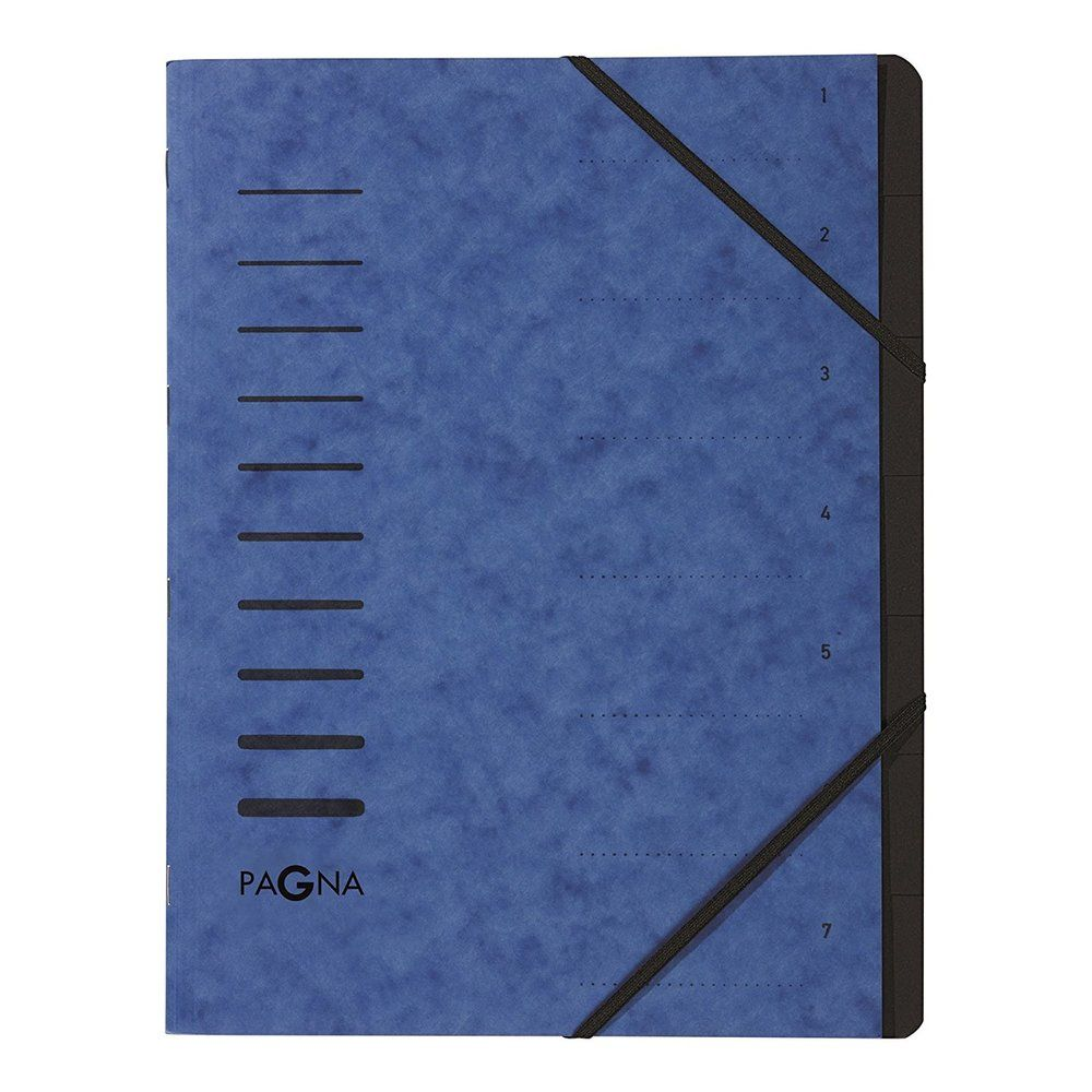 Trieur 'Sorting File' 7 compartiments + Elastiques Bleu