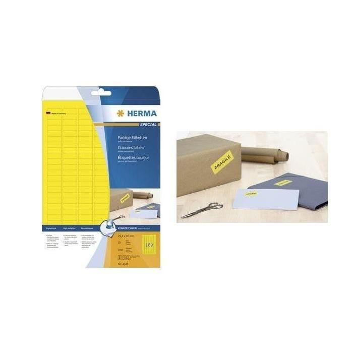 Étiquettes SuperPrint, 70,0 x 37,0mm, sans bord, jaune, 20 feuilles A4