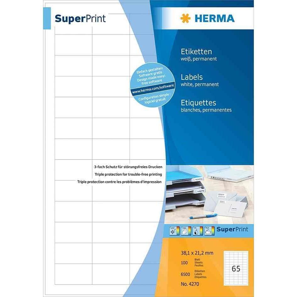 Étiquettes SuperPrint, diamètre 60mm, avec bord, blanc, 100 feuilles A4