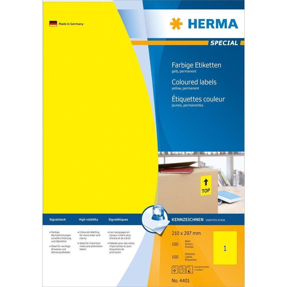 Étiquettes SuperPrint, 210 x 297 mm, sans bord, jaune, 100 feuilles A4