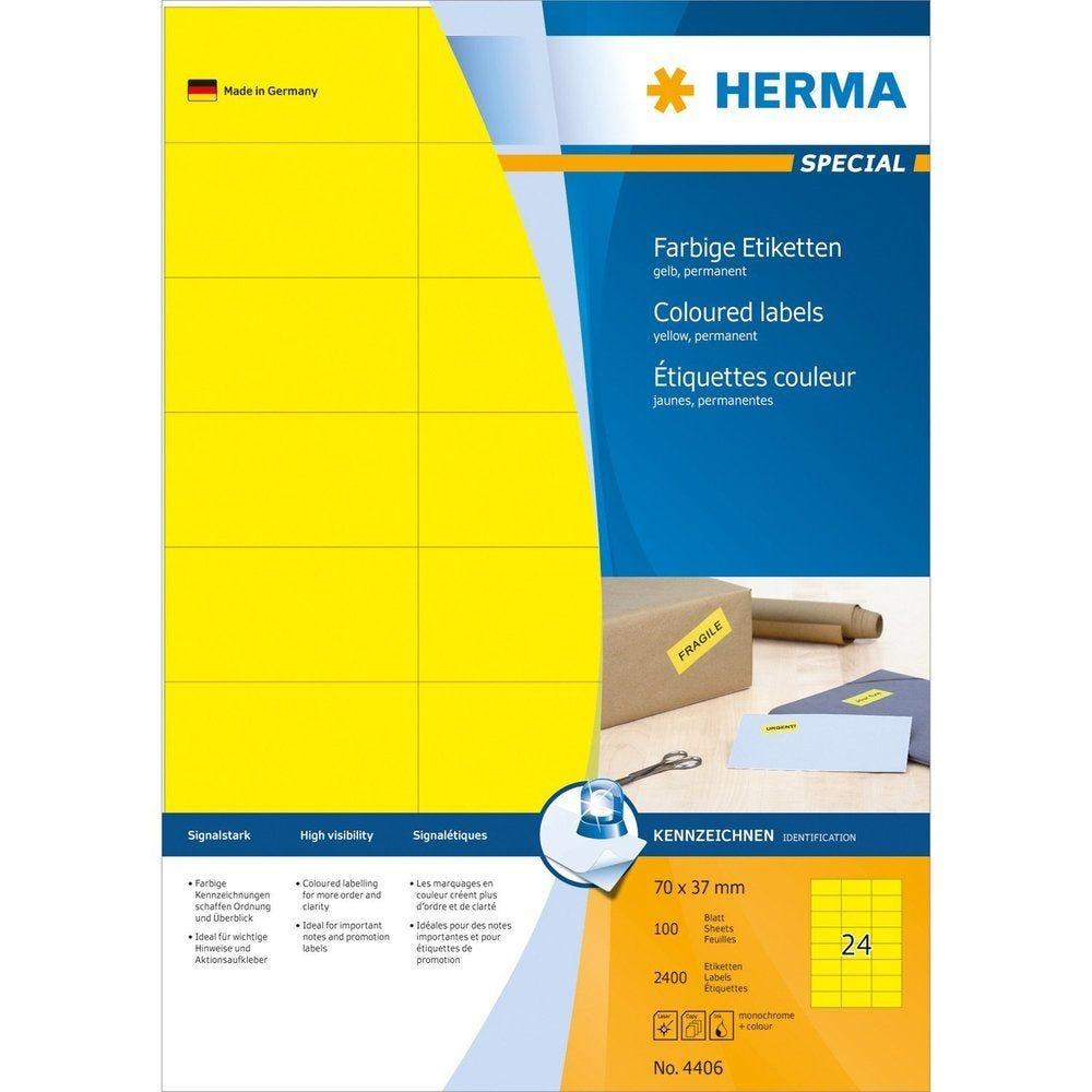 Étiquettes SuperPrint, 70 x 37 mm, sans bord, jaune, 100 feuilles A4