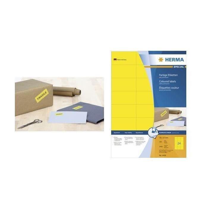 Étiquettes SuperPrint, 105 x 37 mm, sans bord, jaune, 100 feuilles A4