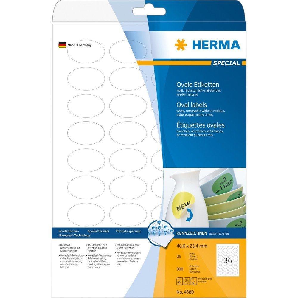 Étiquettes SuperPrint, 40,6 x 25,4 mm Amovible Ovale Blanc 900 sur 25 f