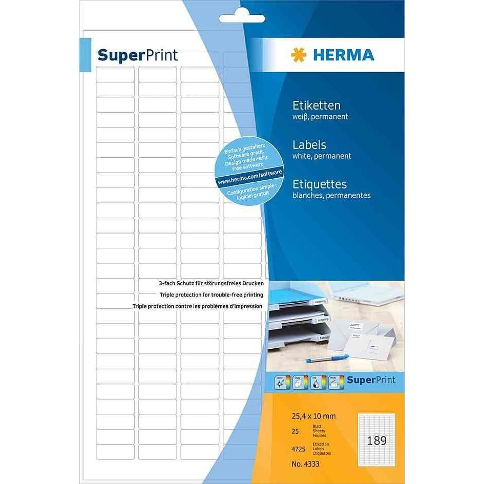 Étiquettes SuperPrint, diamètre 85mm, avec bord, blanc, 25 feuilles A4