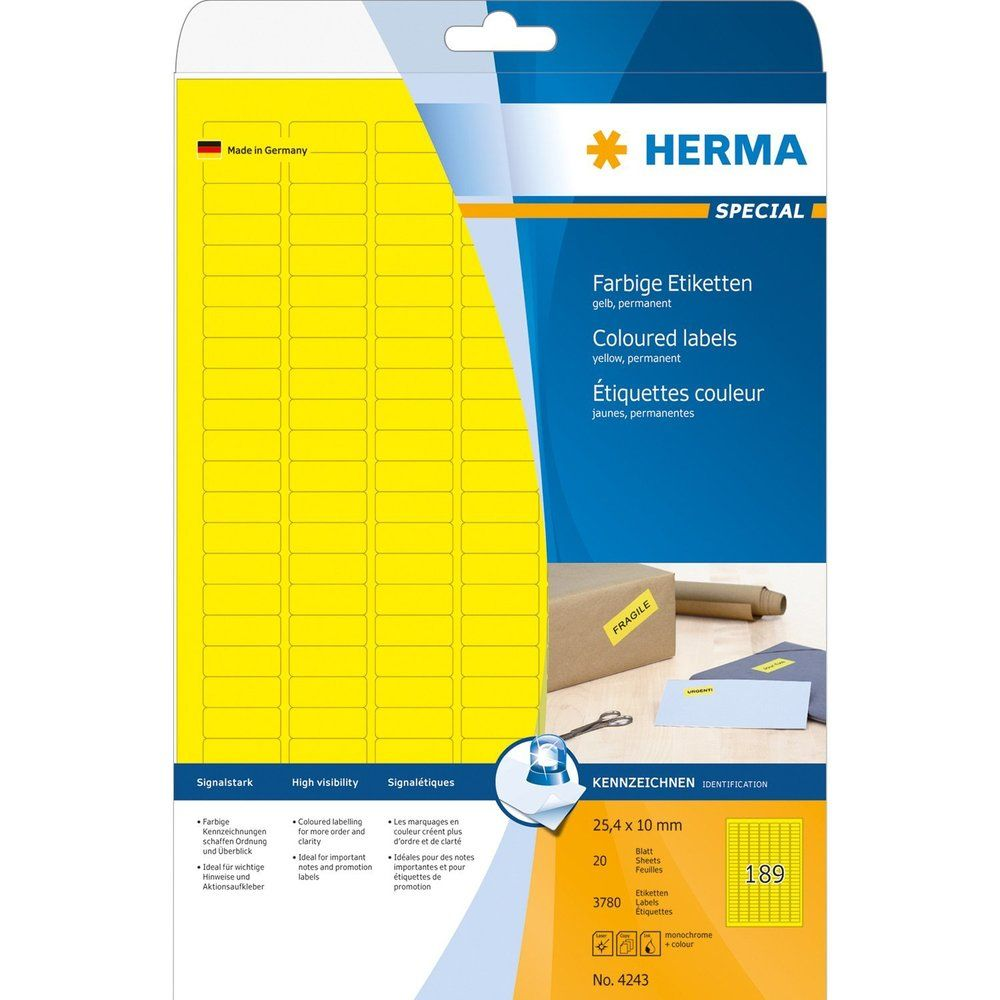 Étiquettes SuperPrint, 25,4 x 10 mm, avec bord, jaune, 20 feuilles A4