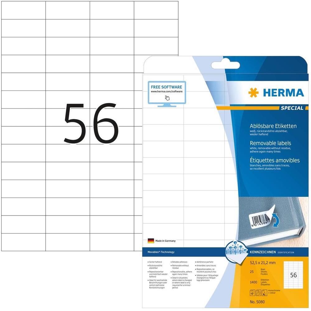 Etiquettes SuperPrint, 52,5x21, 2mm, détachables, blanches, 1400 sur 25 feuilles