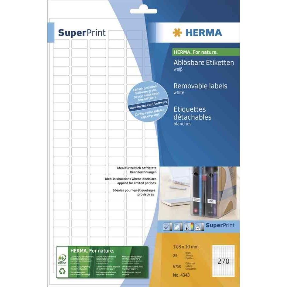Étiquettes SuperPrint, 96x63,5mm, détachables,blanches, sur 25F A4