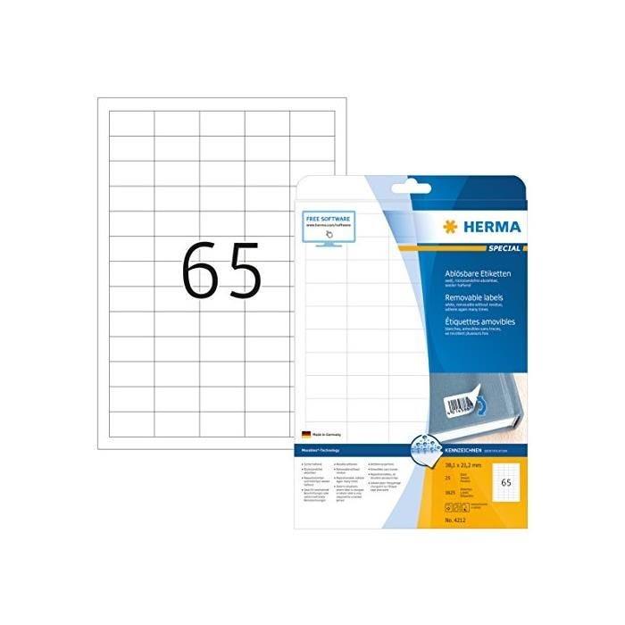 Étiquettes SuperPrint,38,1x12,7mm,détachables,blanches, sur 25F A4