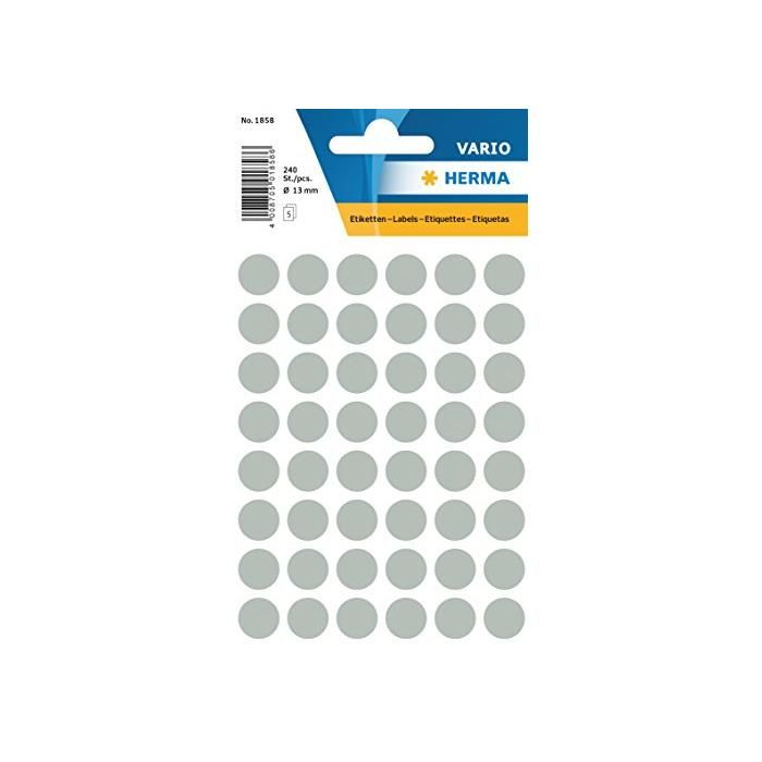 Étiquettes multi-usages Diam 12 mm Gris - Sachet de 240