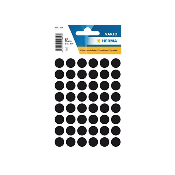 Étiquettes multi-usages, diamètre: 12 mm, noir - Sachet de 240