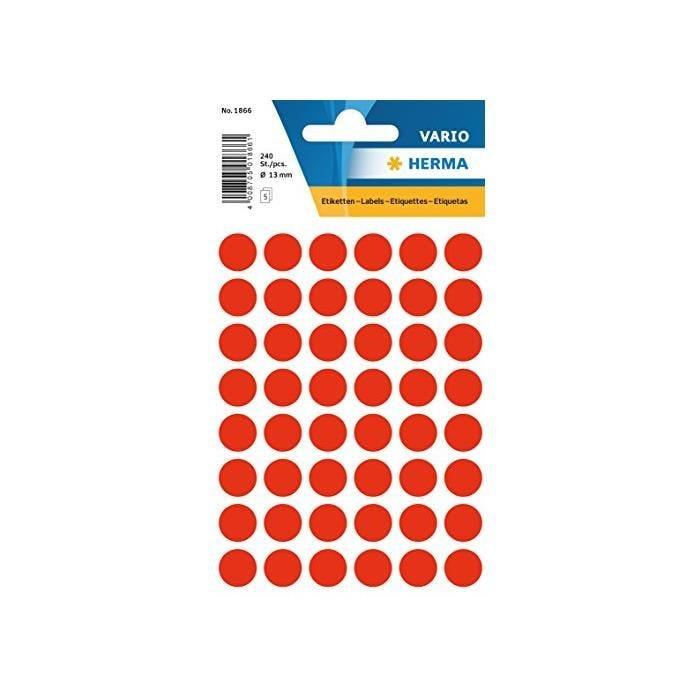 Etui 240 Étiquettes multi-usages Ronde 12 mm Rouge fluo