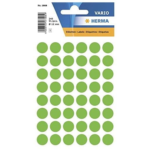 Etui 240 Étiquettes multi-usages Ronde 12 mm Vert fluo