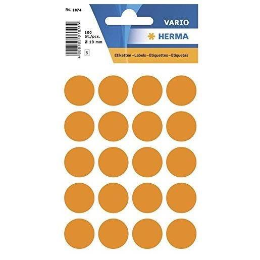 Etui 100 Étiquettes multi-usages Ronde 19 mm Orange fluo