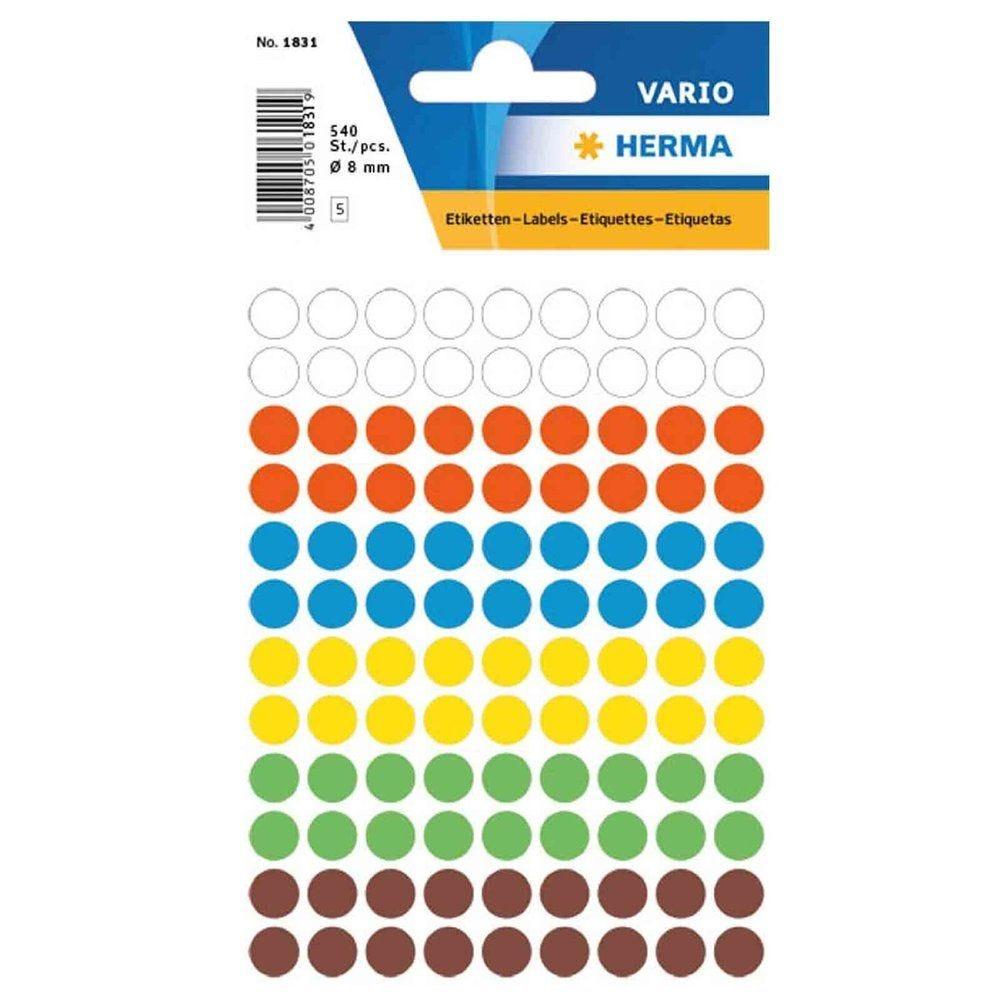 Étiquettes multi-usages Rondes diam.: 19 mm, assorties pqt 100