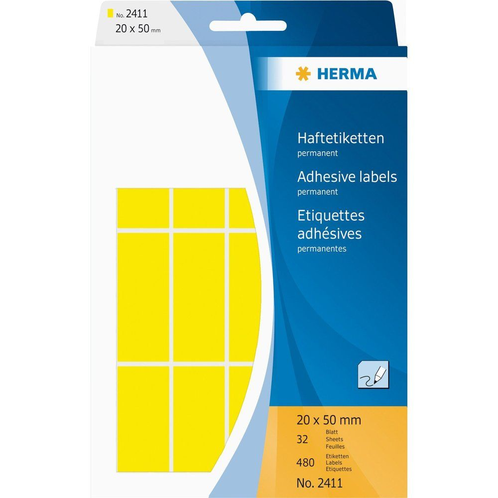 Étiquettes multi-usage,20 x 50 mm, jaune, grand paquet contenu: 480 pièces -2411