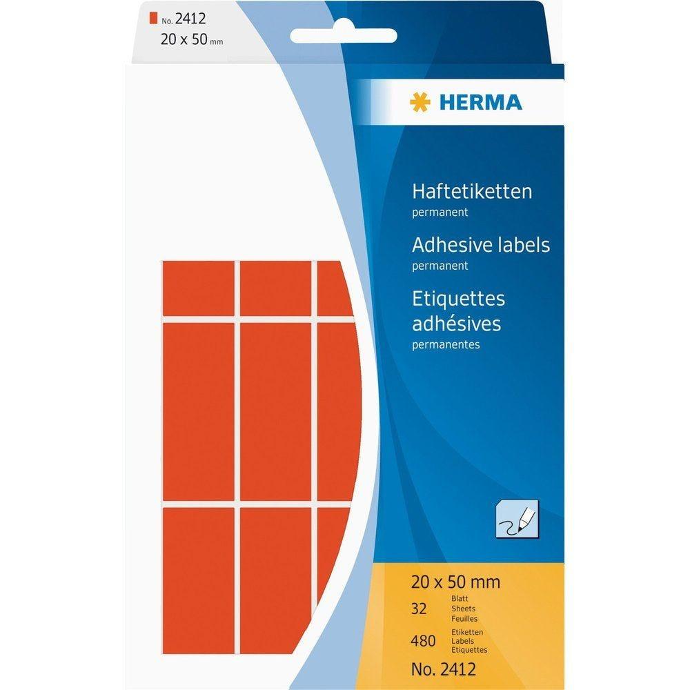 Étiquettes multi-usage 20 x 50 mm Rouge - Paqet de 480