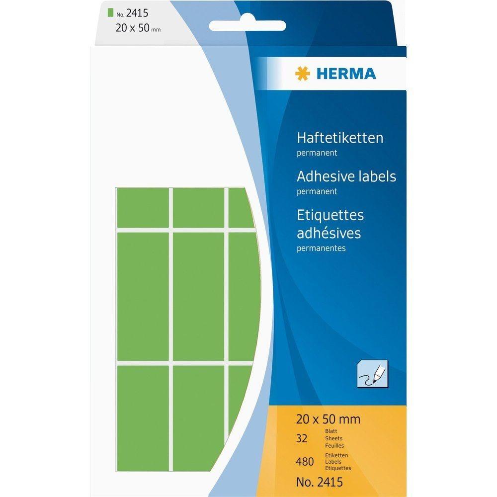 Étiquettes multi-usage, 20 x 50 mm, vert, grand paquet contenu: 480 pièces -2415