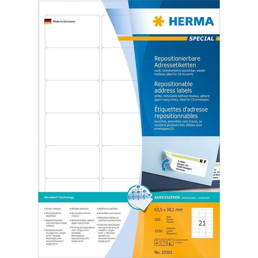 Étiquettes adhésives 'Movables' 63,5 x 38,1 mm, blanc - par 2100