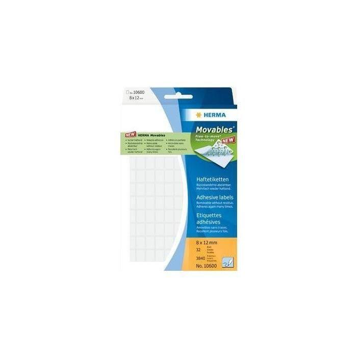 Étiquettes 'Movables' 8 x 12 mm, manuelle, blanc, sur 32 feuilles