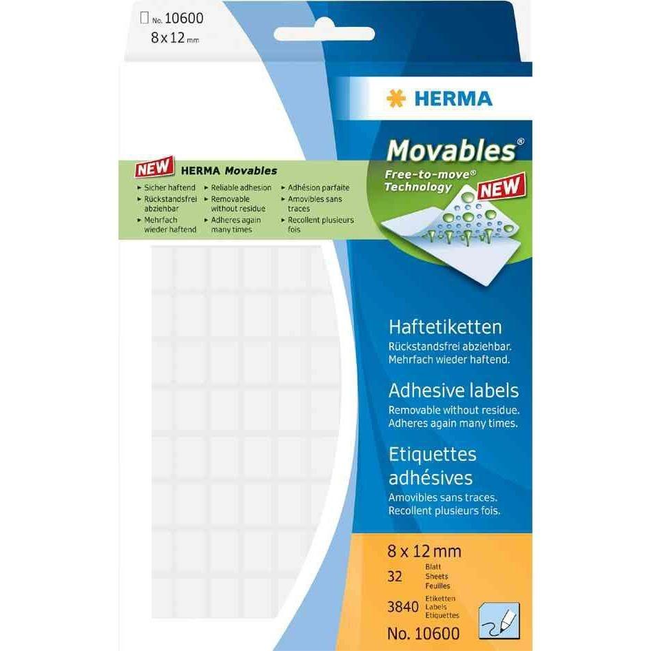 Étiquettes 'Movables' 12 x 18 mm, manuelle, blanc, sur 32 feuilles