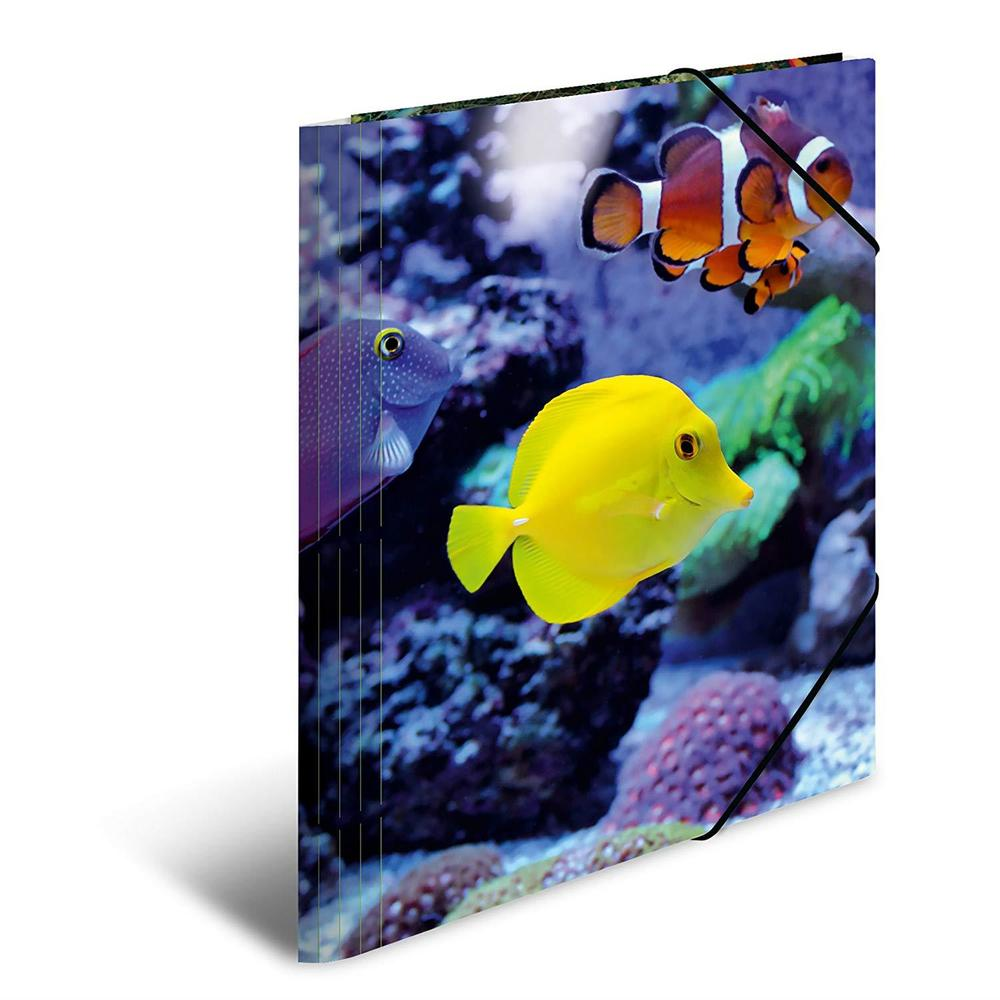 Chemise à élastiques 'poissons', PP Glossy, A4