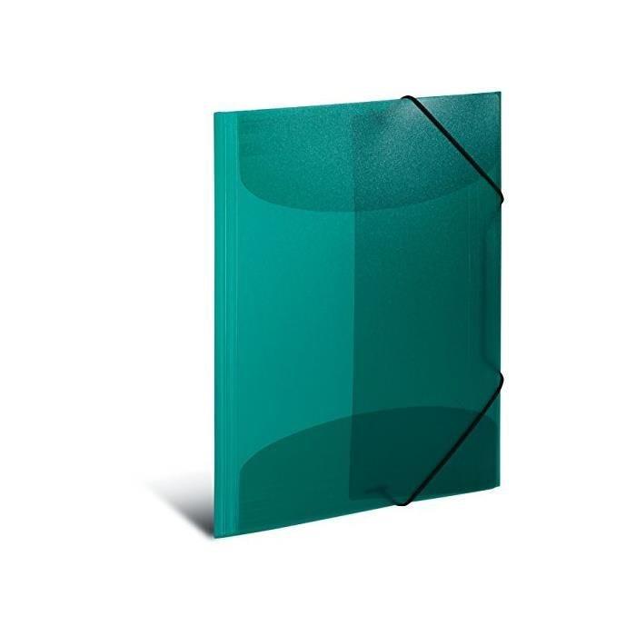 Chemise à élastiques, PP, A3, vert foncé translucide