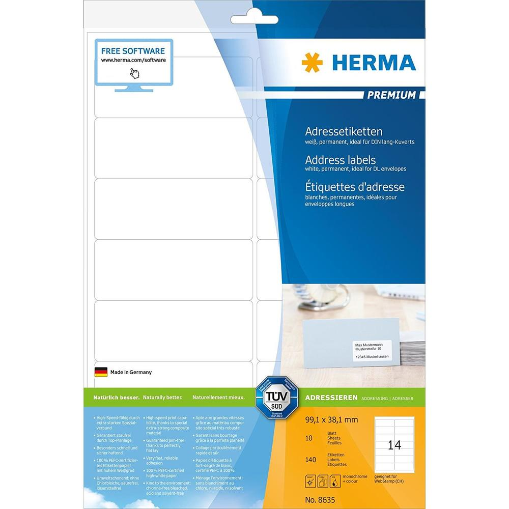 Etui 140 Étiquettes PREMIUM sur 10 Feuilles A4 99,38,1 mm, blanc