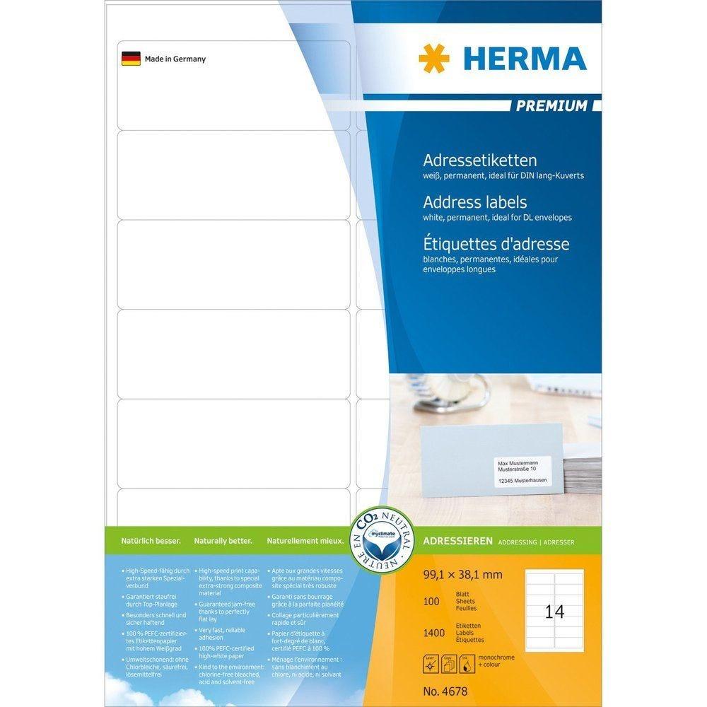Étiquettes universelles PREMIUM, 99,38,1 mm, blanc 1400 sur 100 F