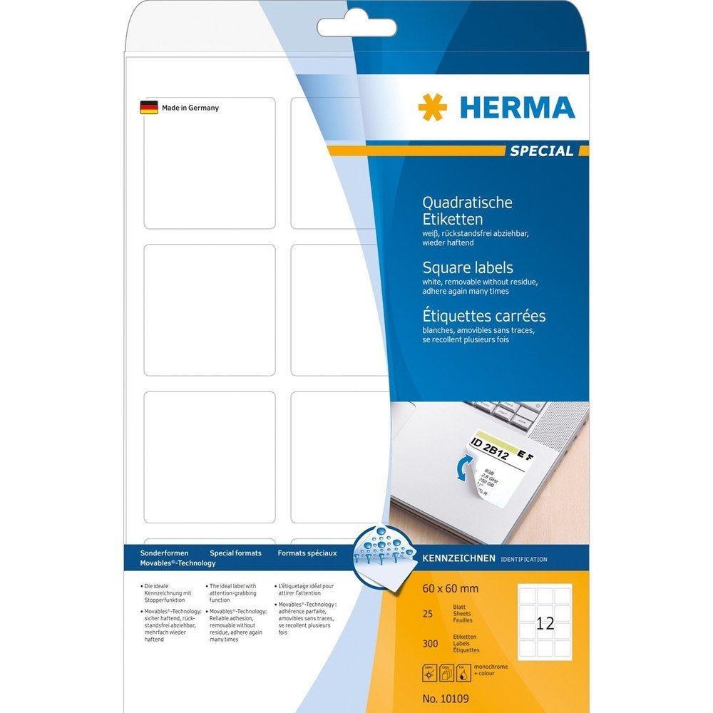 Étiquettes universelles SPECIAL Amovibles 60 x 60 mm blanc 300 sur 25F
