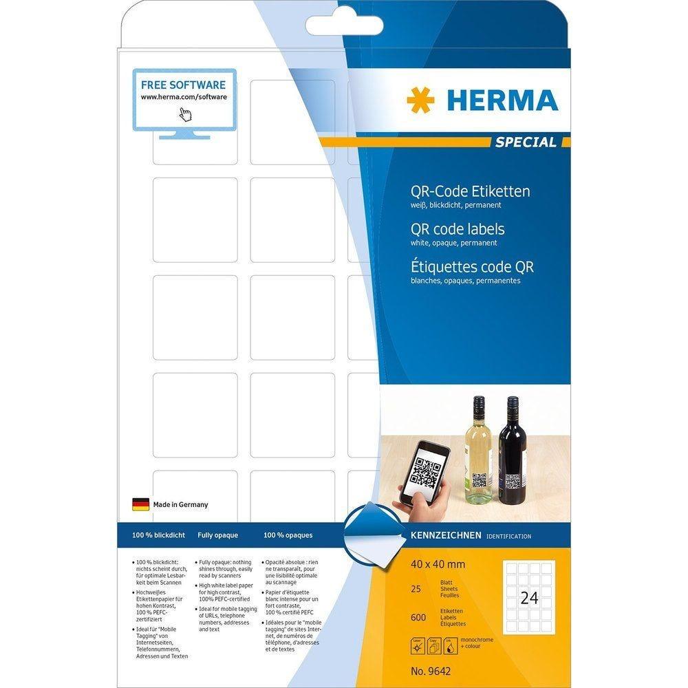 Étiquettes code QR 40 x 40 mm carré Sur 25 F A4 opaques Blanc - Paquet de 600