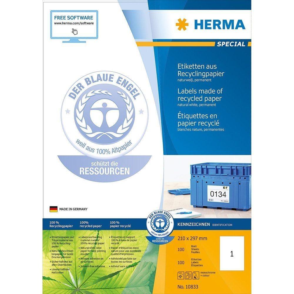 100 Étiquettes en papier recyclé certifié 100 pièces Blanc (photo)