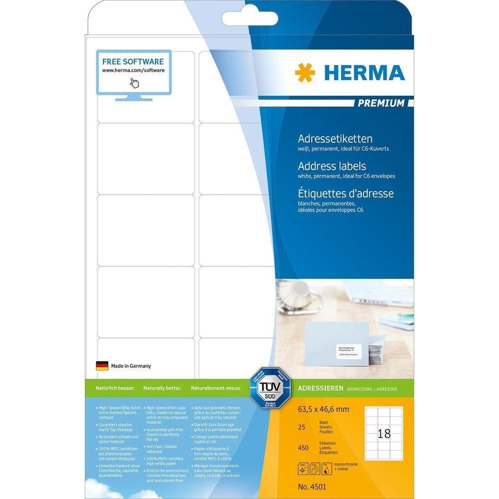 Étiquettes Universelles 63,5x46,6 mm sur 25 F A4 Blanc - Paquet de 450