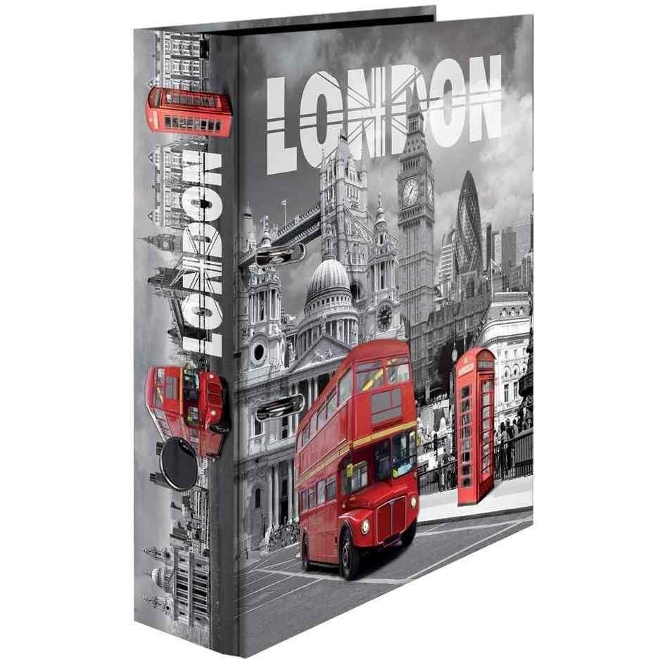 Classeur à Levier Carton A4 Dos de 70 mm Motif London
