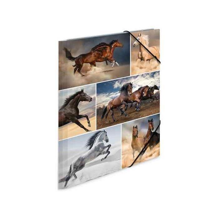 Chemise à élastiques 'chevaux', en carton, A3