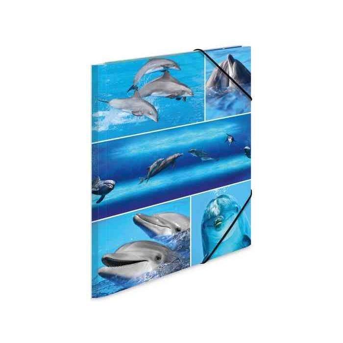 Chemise à élastiques 'dauphins', en carton, A3