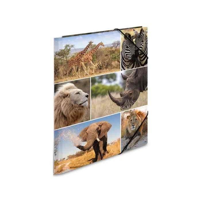 Chemise à élastiques 'animaux d'afrique', en carton, A3