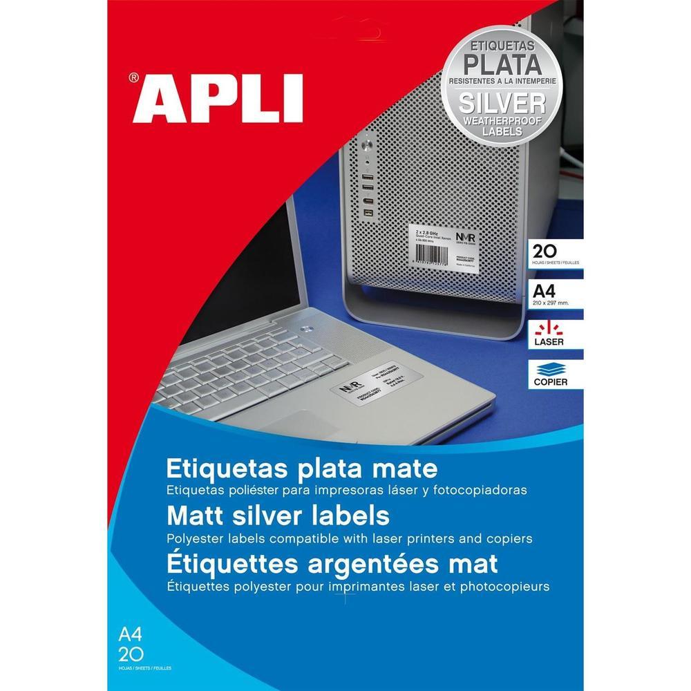 Etui de 960 Étiquettes 45,7x21,2 mm Las / Cop Coin Rond Polyester Argent