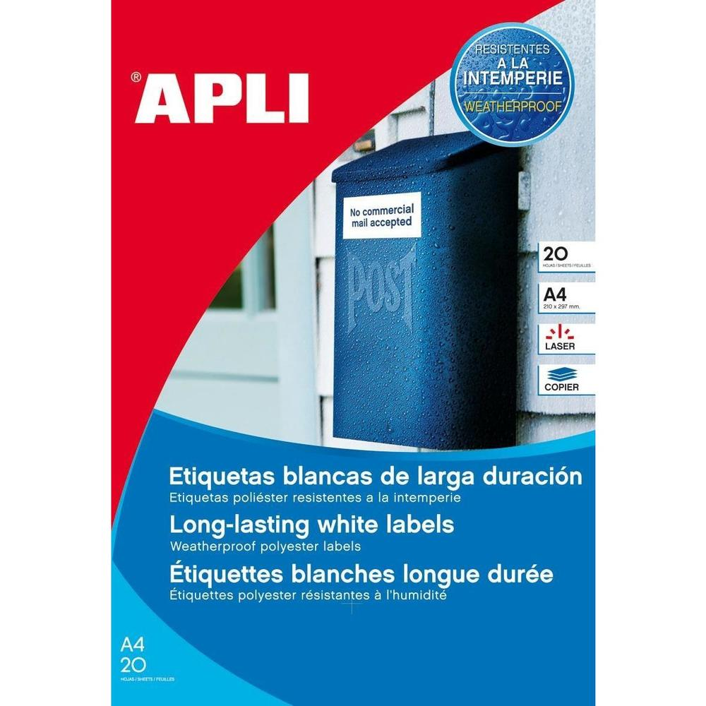 Boite de 80 Étiquettes Résistantes aux intempéries 99,1 x 139 mm Blanc