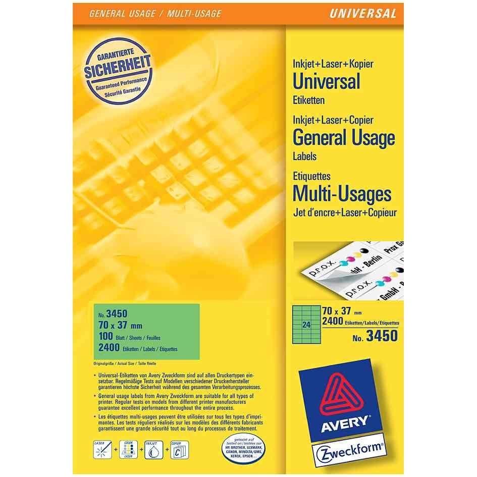 Étiquettes universelles, 70 x 37 mm, jaune - par 2400