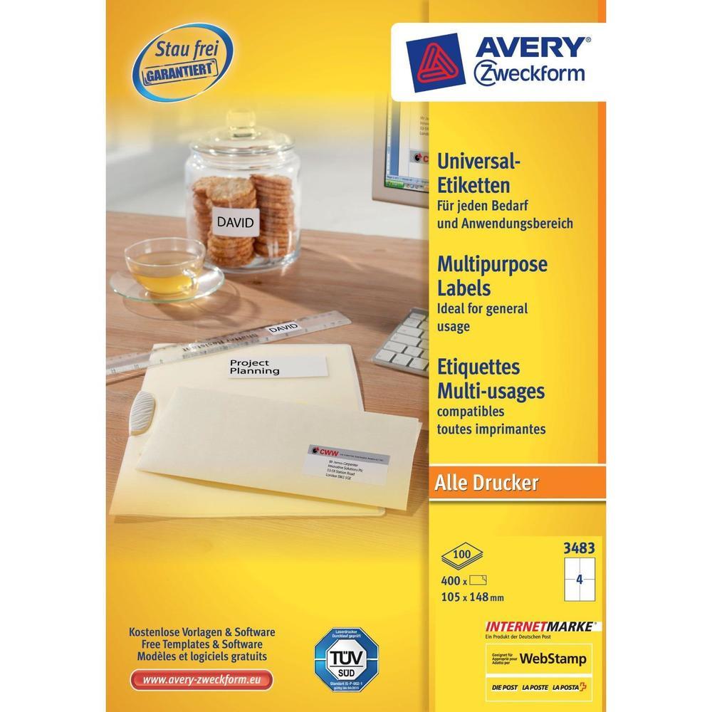 boite de 400 Étiquettes universelles 105 x 148 mm blanc sur 100F A4