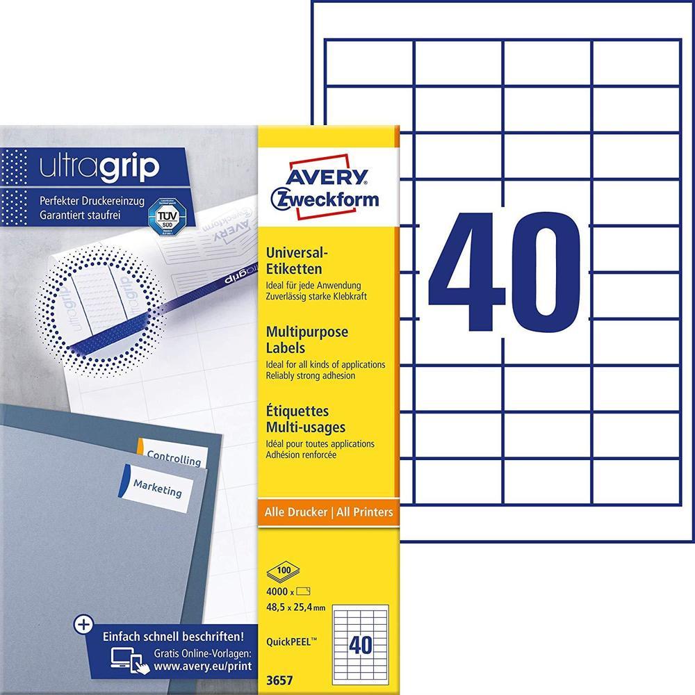 Étiquettes universelles QuickPEEL, 48,5x25,4mm, sur 100 F A4