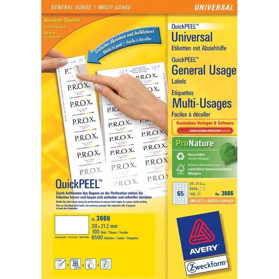 Étiquettes universelles QuickPEEL, 38x21,2 mm blanc, sur 100 F A4
