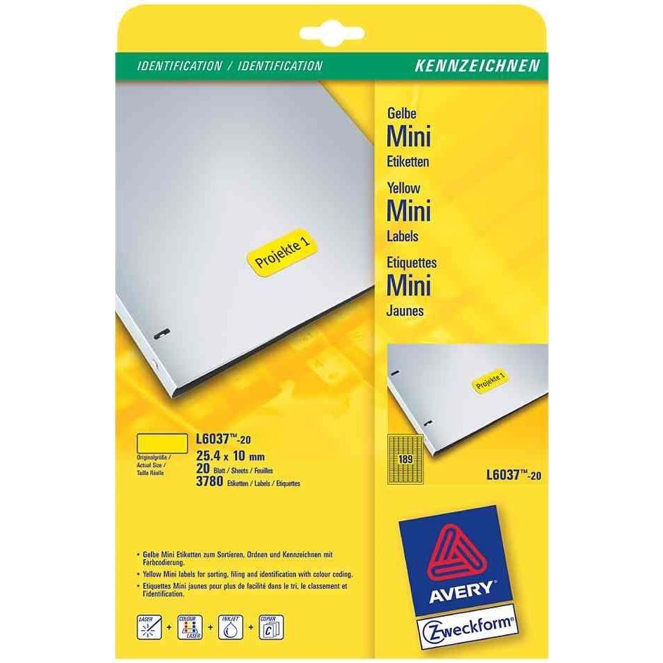 Étiquettes Mini, 38,21,2 mm, blanc
