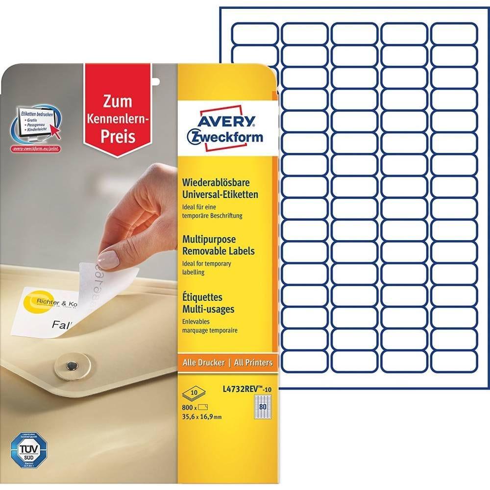 Boite de 800 (10 feuilles) Étiquettes Multi-usage 35,6 x 16,9 mm Enlevable Blanc