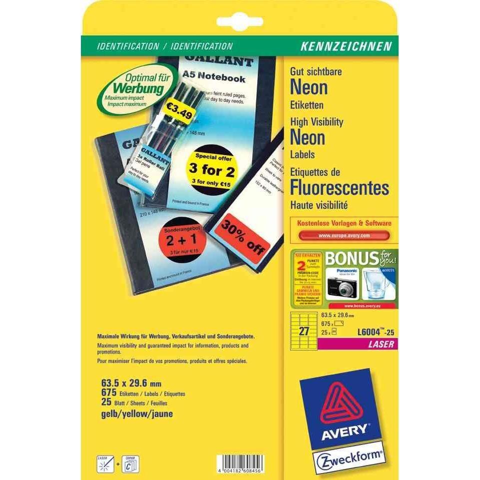 Etiquettes, 63,5 x 29,6 mm, jaune Fluo - Paquet de 675