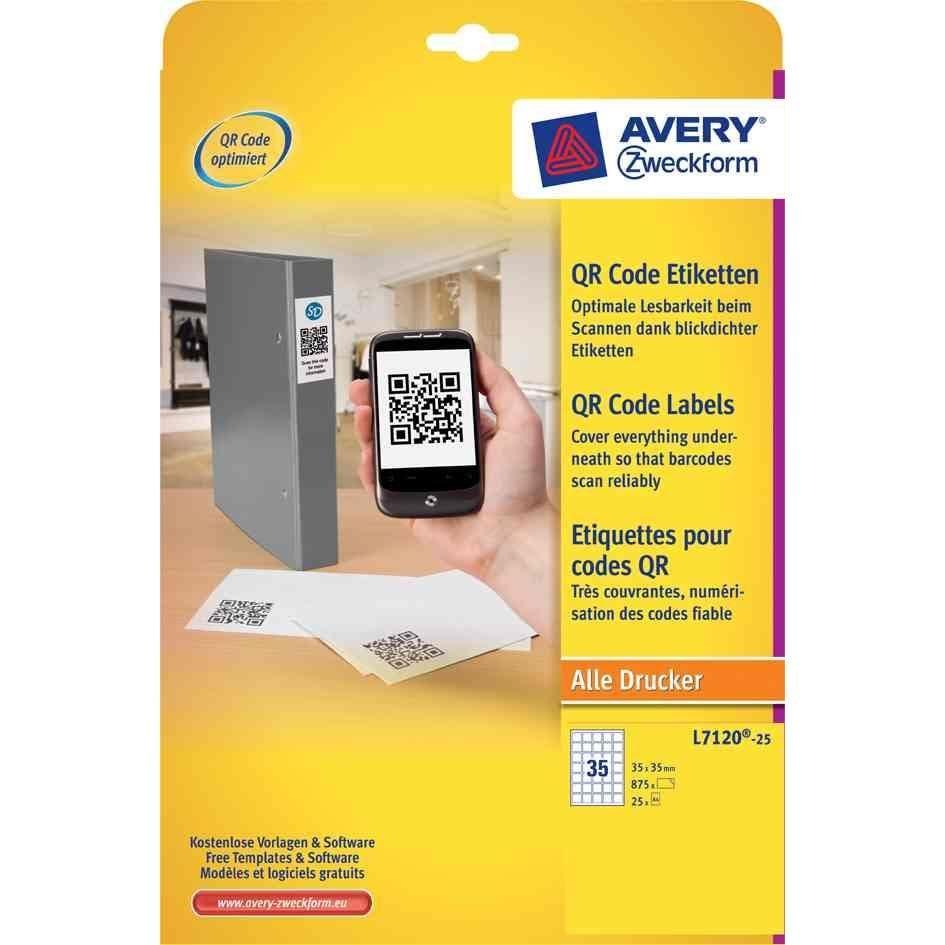 Étiquettes code QR 30 x 35 mm carrées - par boîte de 875